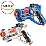 Set of 2 Infrared Laser Tag Guns, 2 Player Indoor and Outdoor Team Game - Blue/White by Toydaloo (Blue, White)