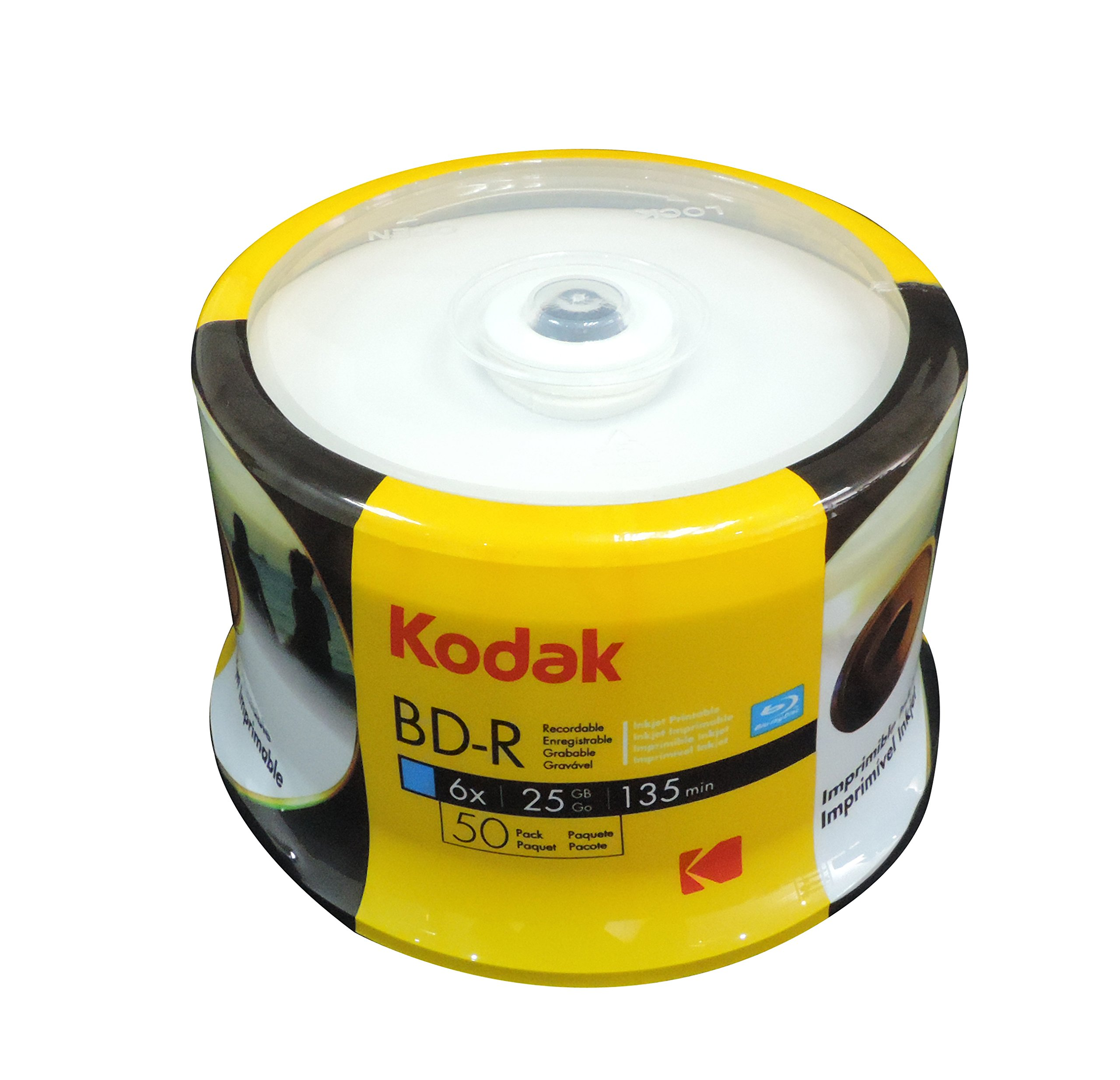 KODAK BD-R 6x 25GB 50-Pack Cakebox, White Inkjet Printable