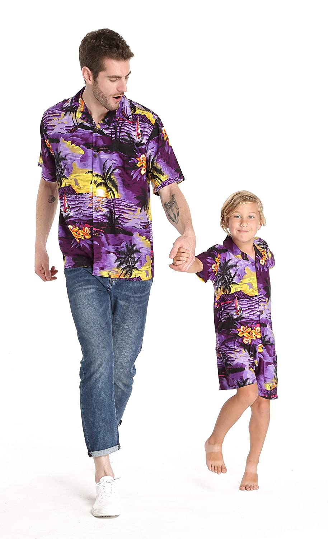 Matching Hawaiian Luau Outfit Men Boy Shirts in Sunset Blue