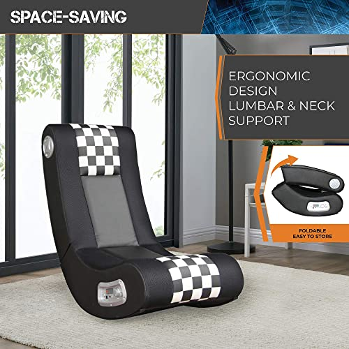 X Rocker Drift Wireless Black and White Checkered Flag 2.1 Wireless Foldable Rocking Video Gaming Floor Chair with 2 Speakers and Subwoofer