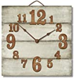 """Highland Graphics 12"""" Rustic Antique White Wall Clock Made in USA from Reclaimed Wood Slats"""