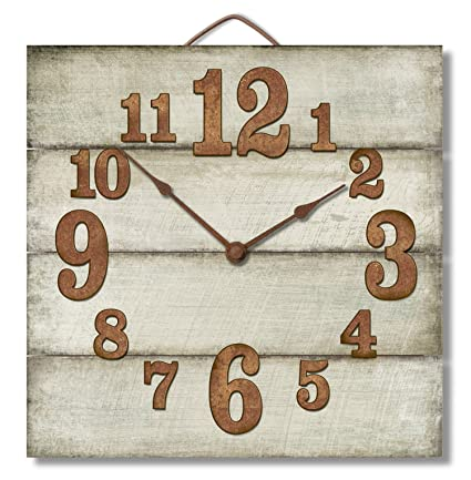 Amazoncom Highland Graphics 12 Rustic Antique White Wall Clock