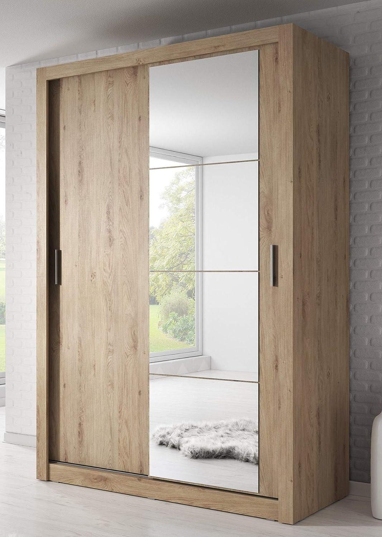 Marca nilight dormitorio espejo puerta corredera armario Arti 6 en roble Shetland 120 cm se vende por Arthauss: Amazon.es: Hogar