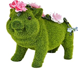 ASAWASA Flocking Pig Solar Garden Statues and Sculptures Outdoor Decor,Garden Figurines with Solar Powered Lights for Patio,Lawn,Yard Art Decoration,Housewarming Garden Gift,10.4x5.0x7.1 Inch