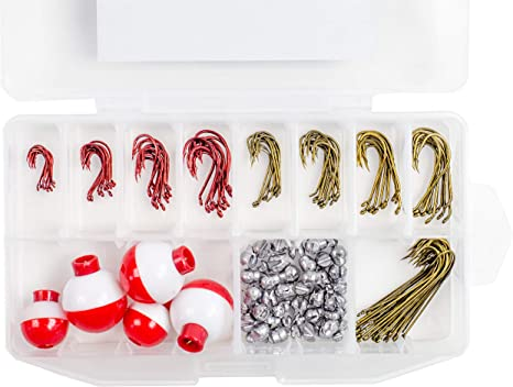 Fishing Tackle Box 160 Pieces Octopus Hooks Baitholder Hooks Sinkers Bobbers Swivels Beads in a Plastic Case