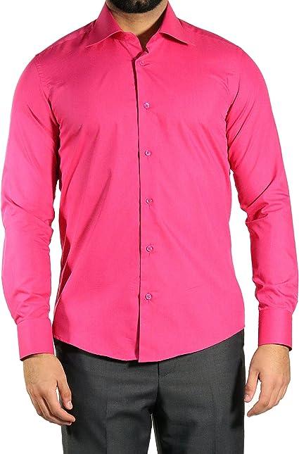 MMUGA de hombre Plain Formal clásico de manga larga camiseta rosa rosa Rosa fucsia XXXX-Large: Amazon.es: Ropa y accesorios