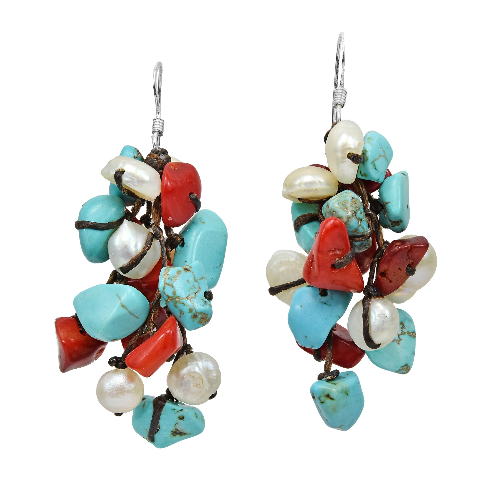 Cluster Simulated Turquoise & Reconstructed Coral & Cultured Freshwater White Pearl .925 Sterling Silver Dangle Earrings by AeraVida (Image #1)