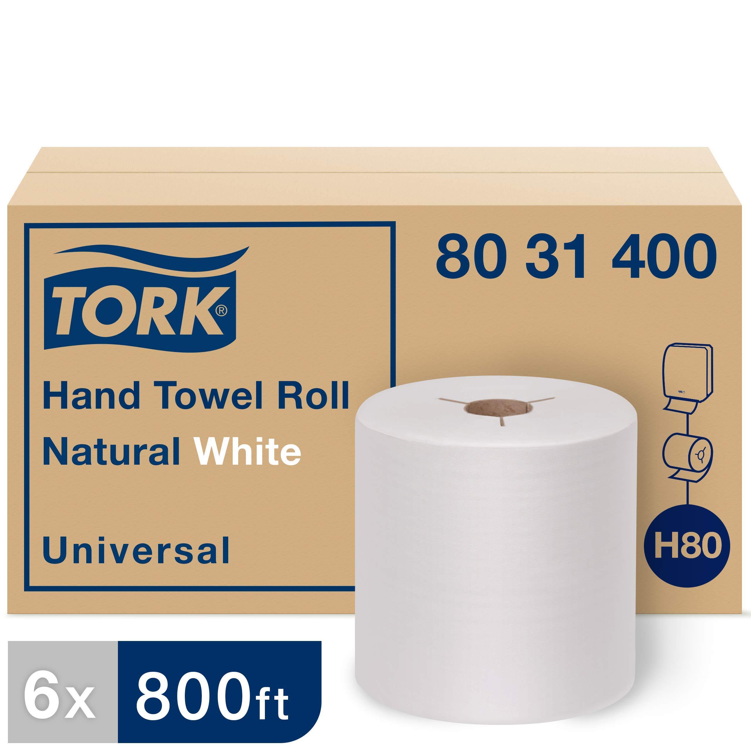 Tork 8031400 Universal Paper Hand Towel Roll, Y-Notch, 1-Ply, 8.0'' Width x 800' Length, White (Case of 6 Rolls, 800 Feet per Roll, 4,800 Feet per Case)