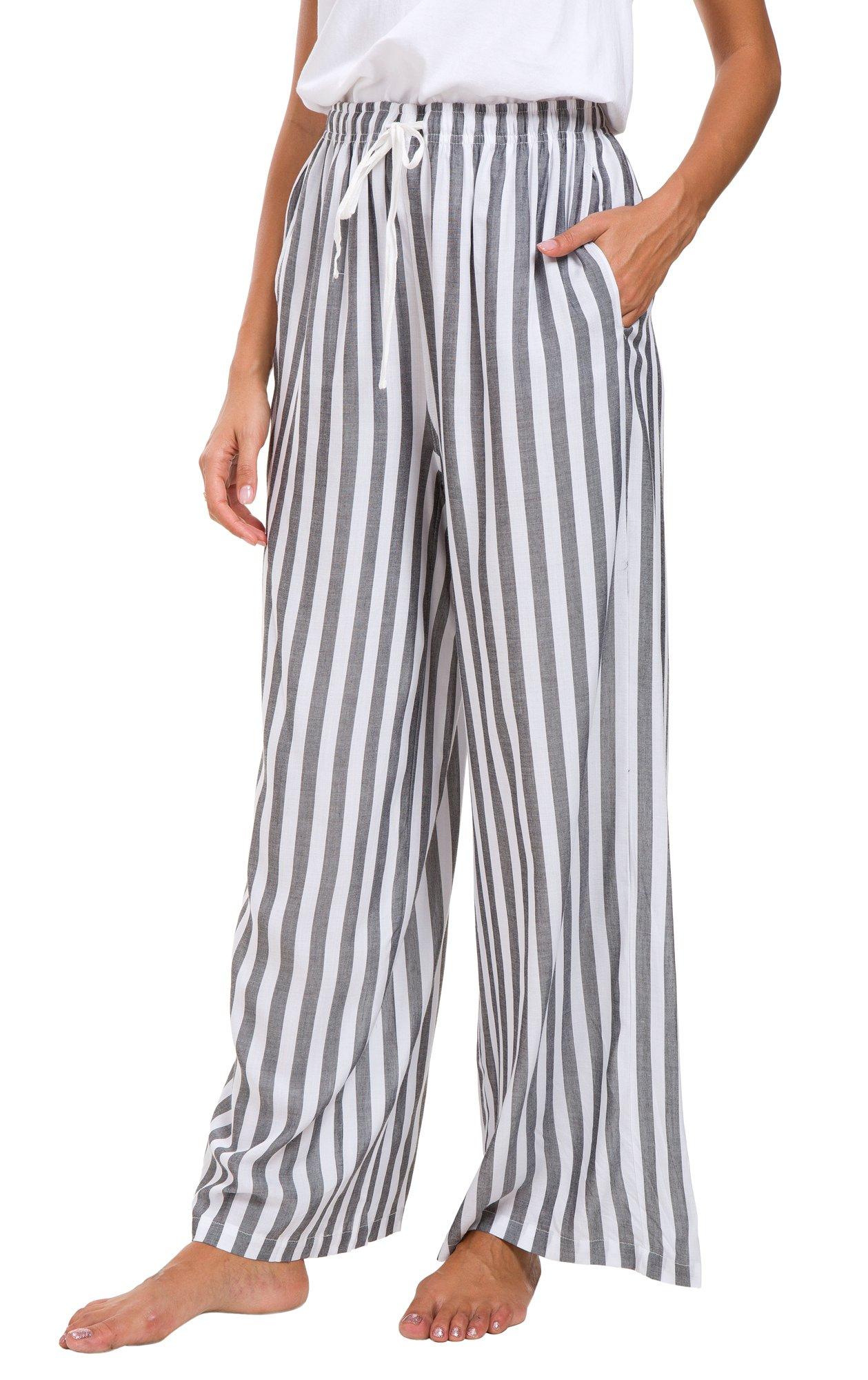 Women's Loose Split Stripe Wide Leg Lounge Pants (XL, Grey)