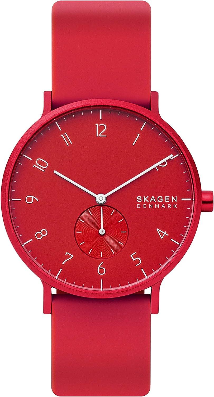 Skagen Aaren - Reloj minimalista de cuarzo de silicona de 41 mm