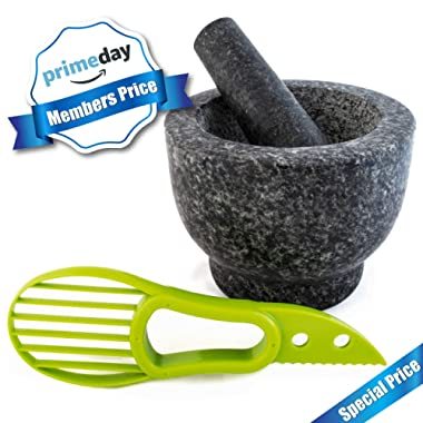 Mortar and Pestle Made of 100% Granite for the Kitchen Make and Serve Dishes Right At The Table Beautifully. Bonus Include: Avocado Slicer. (polished granite)