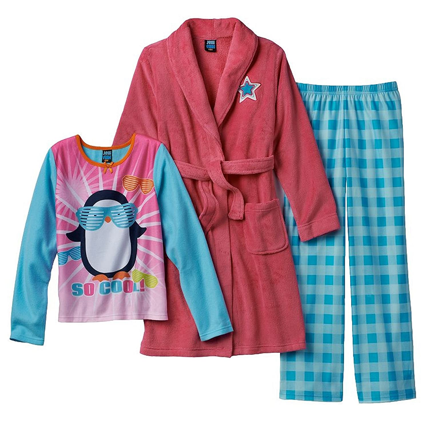 4//5 Jellifish Kids Jelli Fish Kids Puppy Pajamas /& Robe Set Pink Girls