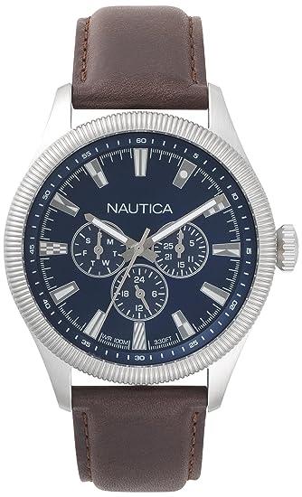 4ad05409 Nautica Reloj Analogico para Hombre de Cuarzo con Correa en Cuero  NAPSTB001: Amazon.es: Relojes