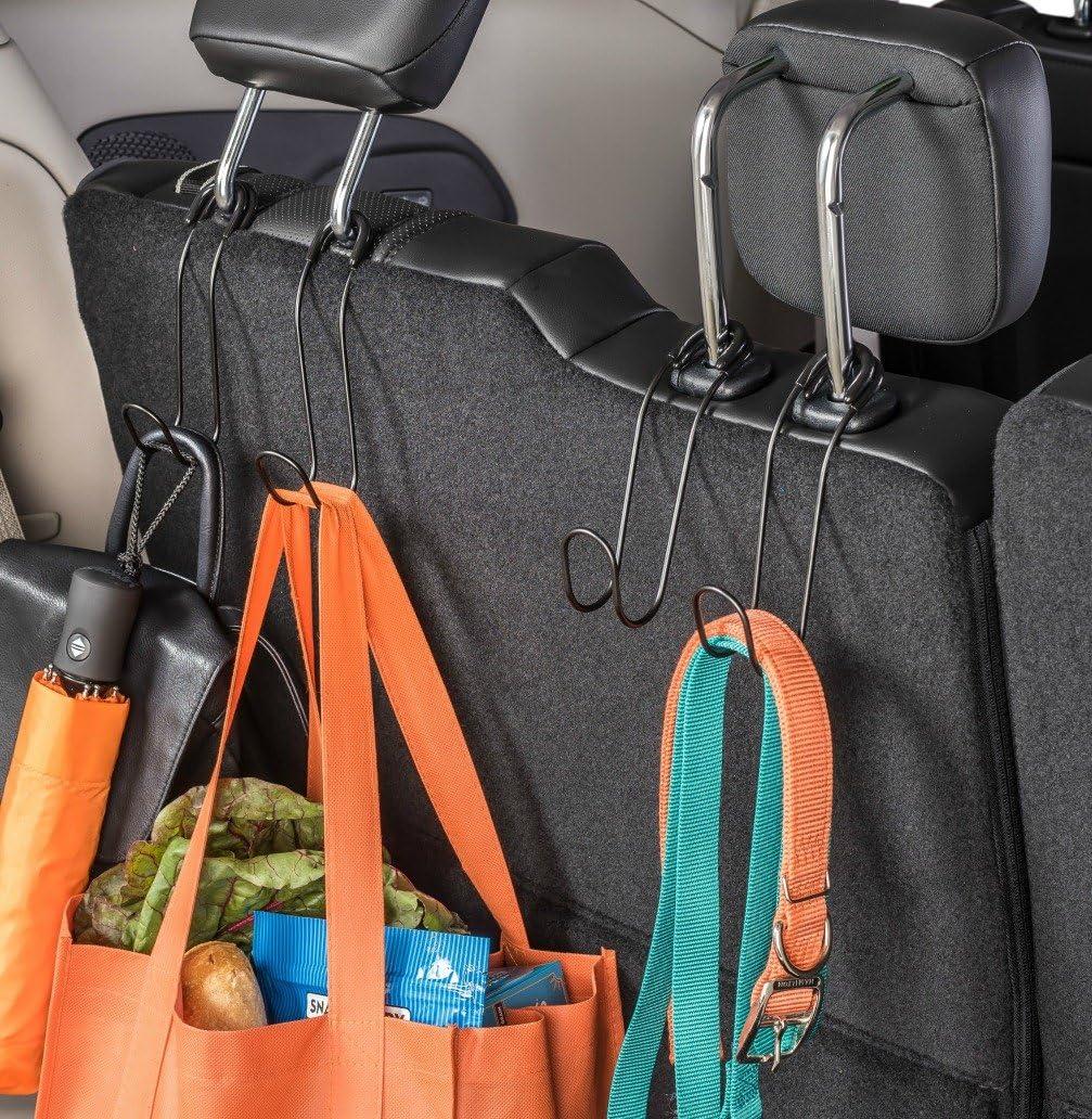 High Road Contour Car Hooks Metal Headrest Hangers Pack of 2 Black