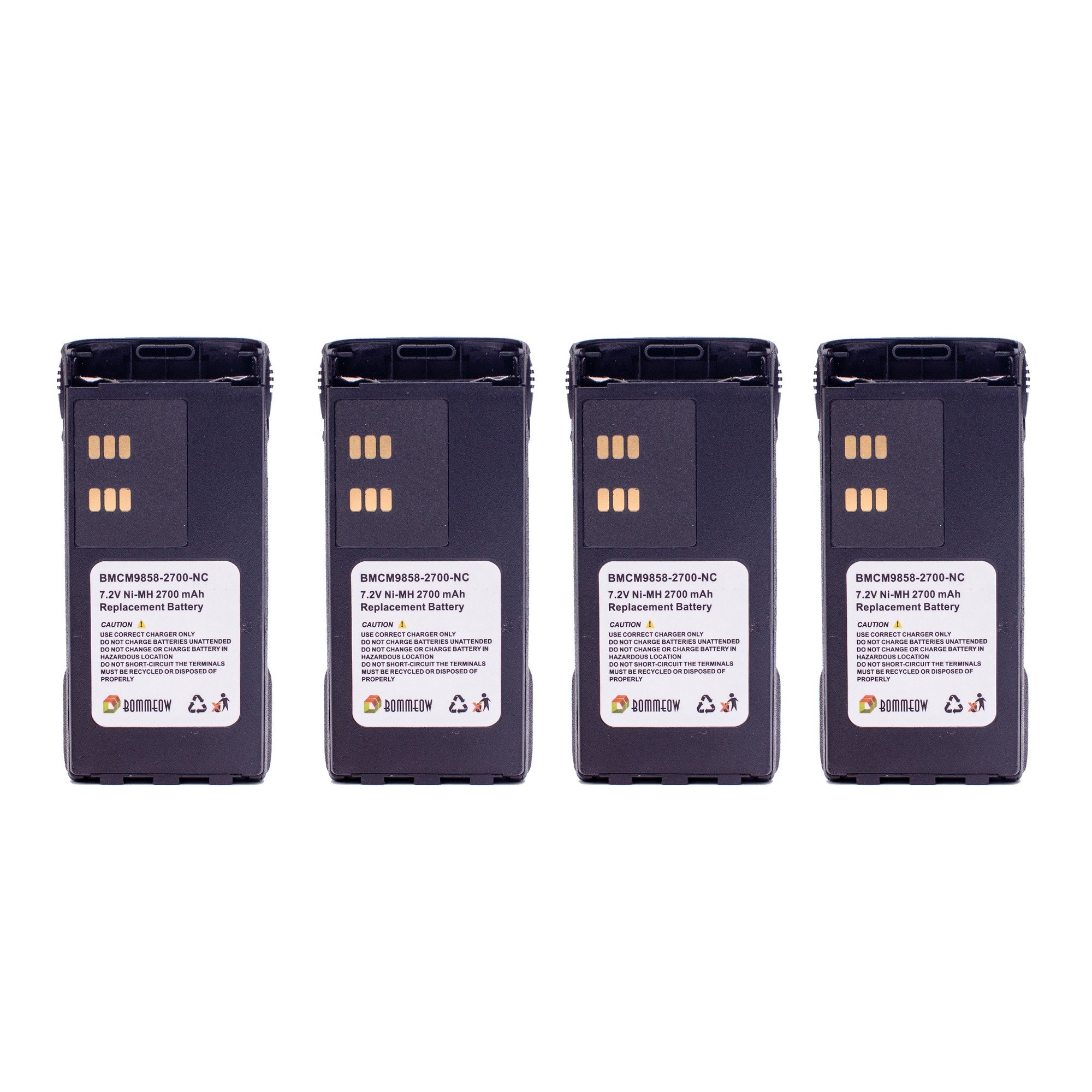 4 Pack Bommeow BMCM9858-2700-D Replacement Battery for Motorola 2-Way Radio MT1500 PR1500 XTS1500 XTS2500