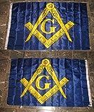 3X5 Mason Masonic Freemason Blue Gold 2 Faced 2-Ply Wind Resistant Flag 3X5Ft