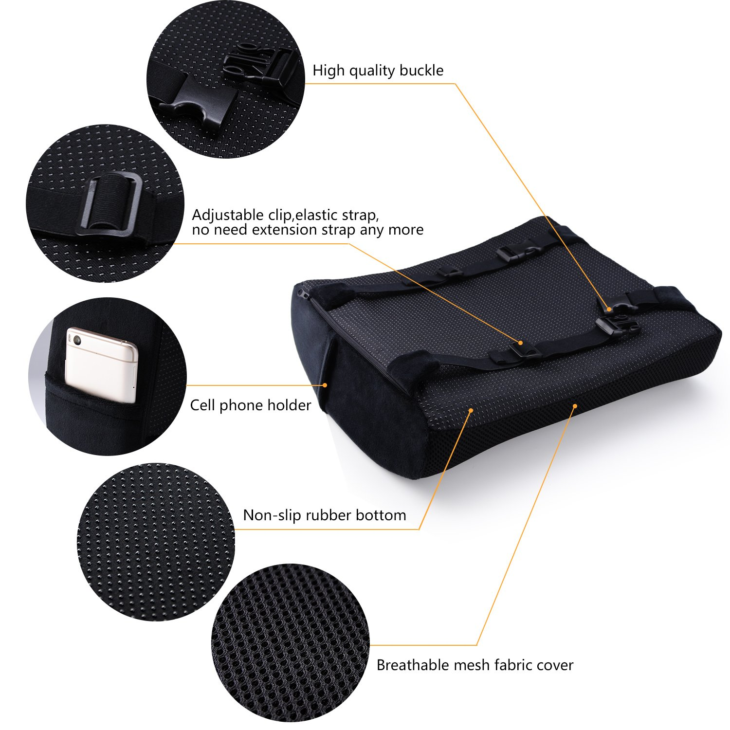 Dreamer Car High Density Memory Foam Back Cushion, Non-slip Orthopedic Lumbar Support Pillow for Low Back Pain Relief, 2 Adjustable Straps for Office Chair, Black