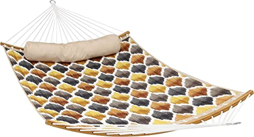 Sunnydaze Quilted 2-Person Hammock with Curved Bamboo Spreader Bars