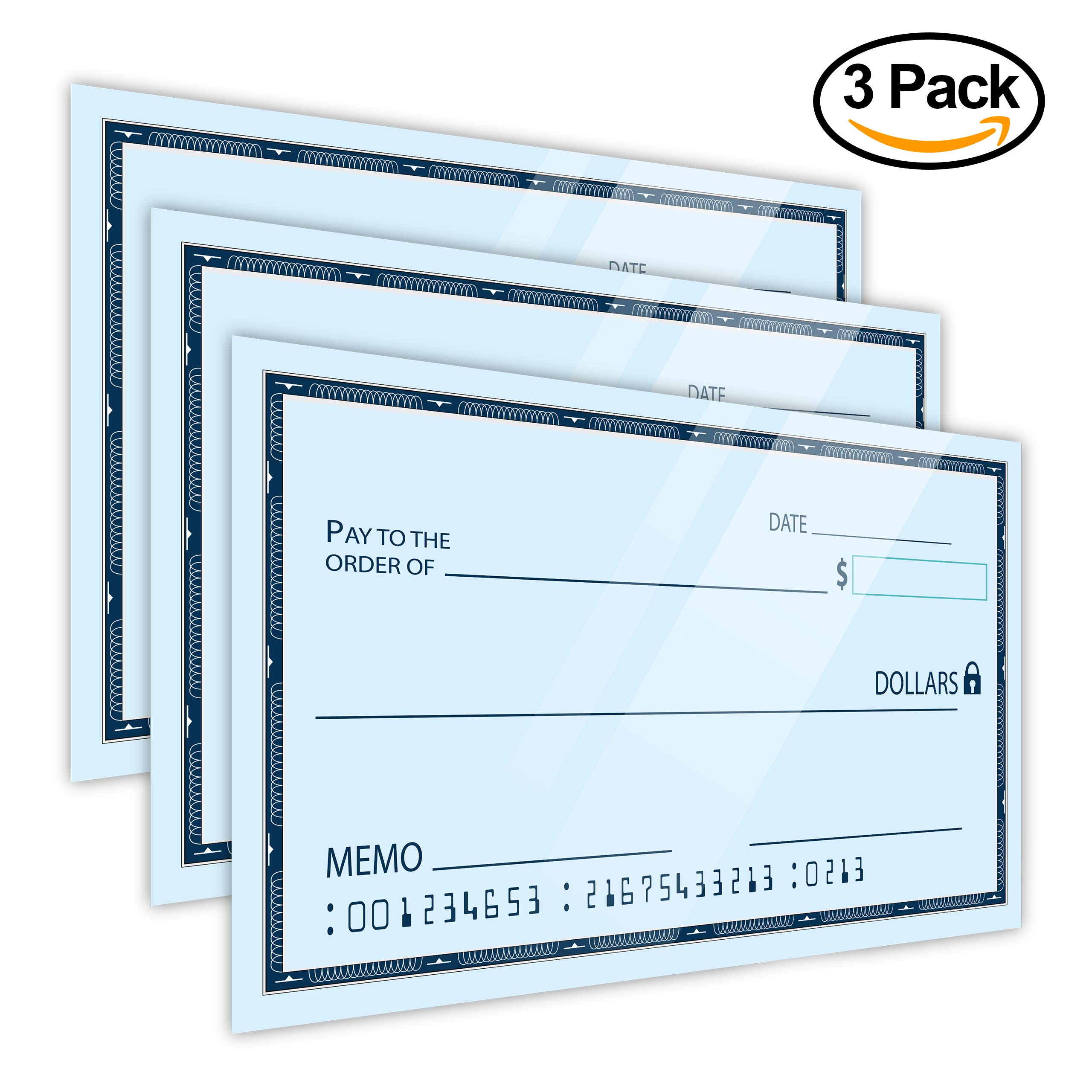 Dry Erase 16'' x 24'' Oversize Giant Check - Large Fake Checks - Reusable Big Blank Presentation Check for Charity Donation, Lottery, Raffle, Novelty, Fundraiser, Endowment and Gag Gift [Pack of 3] by JJ CARE