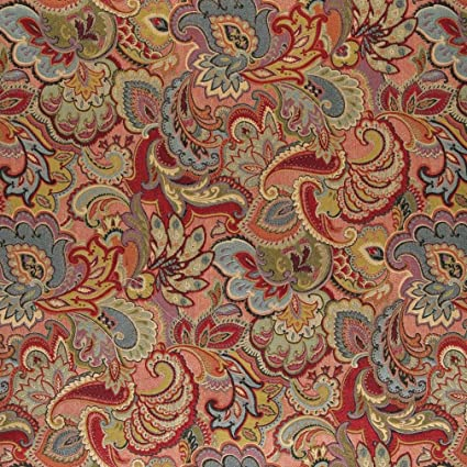 Full Floral Pattern Chenille In Blue Red Green Colour Quality Furnishing Fabric