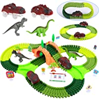 Deals on FiGoal Dinosaur Race Track Toy Set 153 Pieces