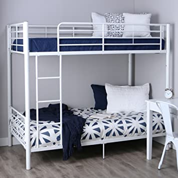 Amazon Com Walker Edison Twin Over Twin Metal Bunk Bed White