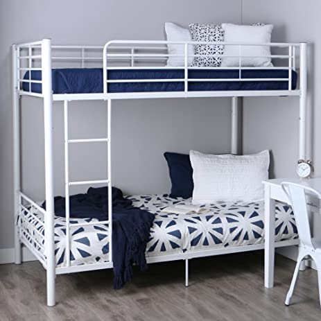 Amazoncom Walker Edison TwinOverTwin Metal Bunk Bed White