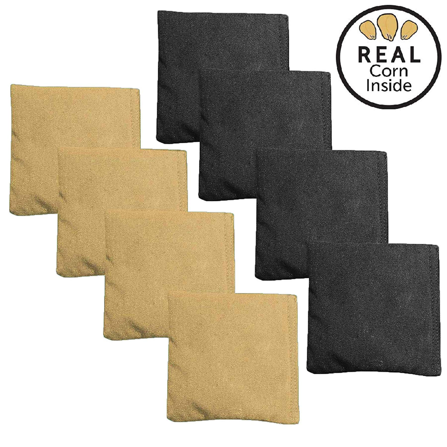 Corn Filled Cornhole Bags - Set of 8 Bean Bags for Corn Hole Game - Regulation Size & Weight - Black & Gold by Play Platoon
