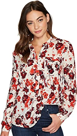 169c09a62ab87c Lucky Brand Womens Floral Chambray Button Up Shirt Red XL at Amazon ...