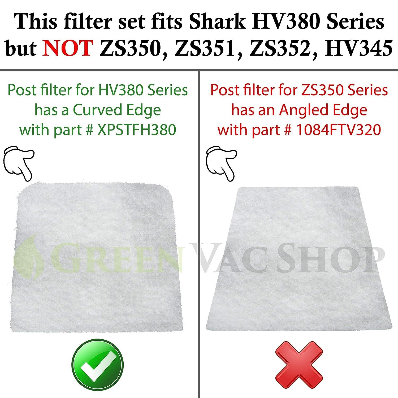 HV382 HV384Q Updated Replacement Filter Set 3 Foam+3 Felt HV380W and 3 Post-Filters HV381 Replaces Shark Part# XPMFK320 XPSTFH380 GreenVacShop Shark Rocket DuoClean HV380 6 Pre-Filters HV383