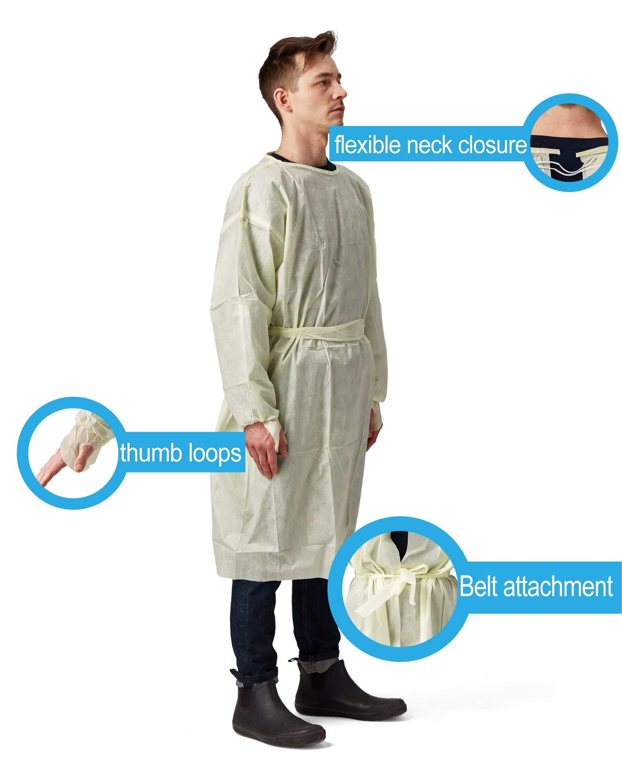 Disposable SMS Polypropylene Isolation Gown, with Elastic cuffs, Breathable, flexible, and fluid resistant. Professional Surgical gowns & Lab Coats. (10 Units, Regular) by AMD Ritmed® (Image #7)
