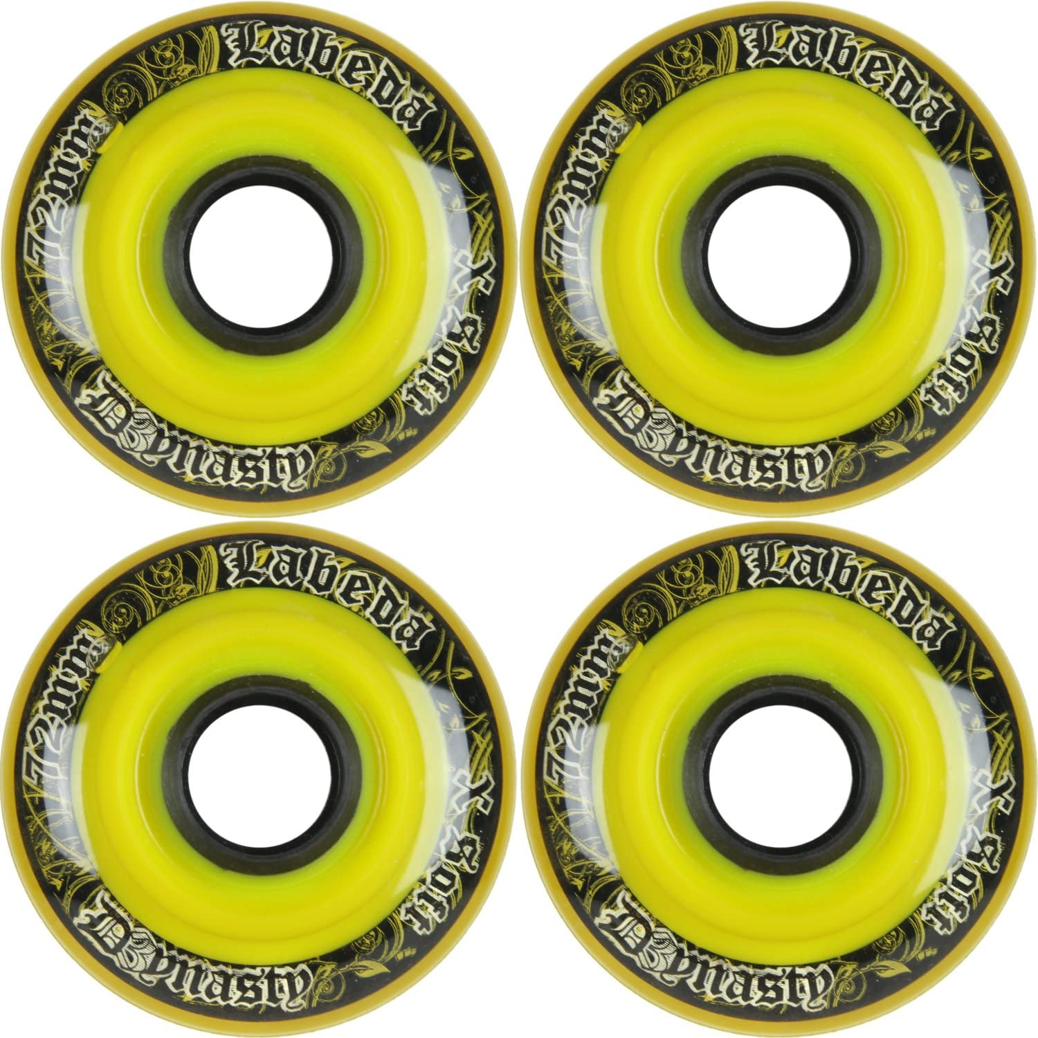 Labeda Wheels Inline Roller Hockey Dynasty 3 72mm X-Soft Yellow 4-Pack