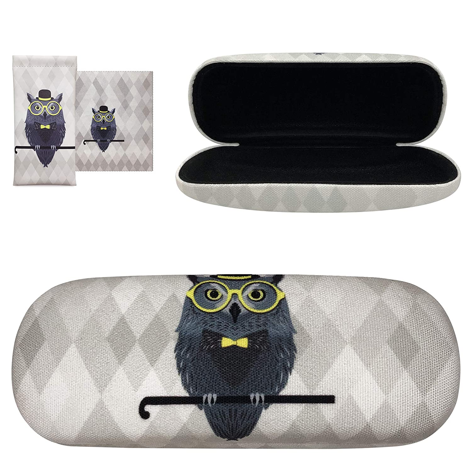 Cute Owl Elk Fabric Print Large Sunglasses Case Yulan Hard Shell Eyeglasses Case Includes Glasses Pouch