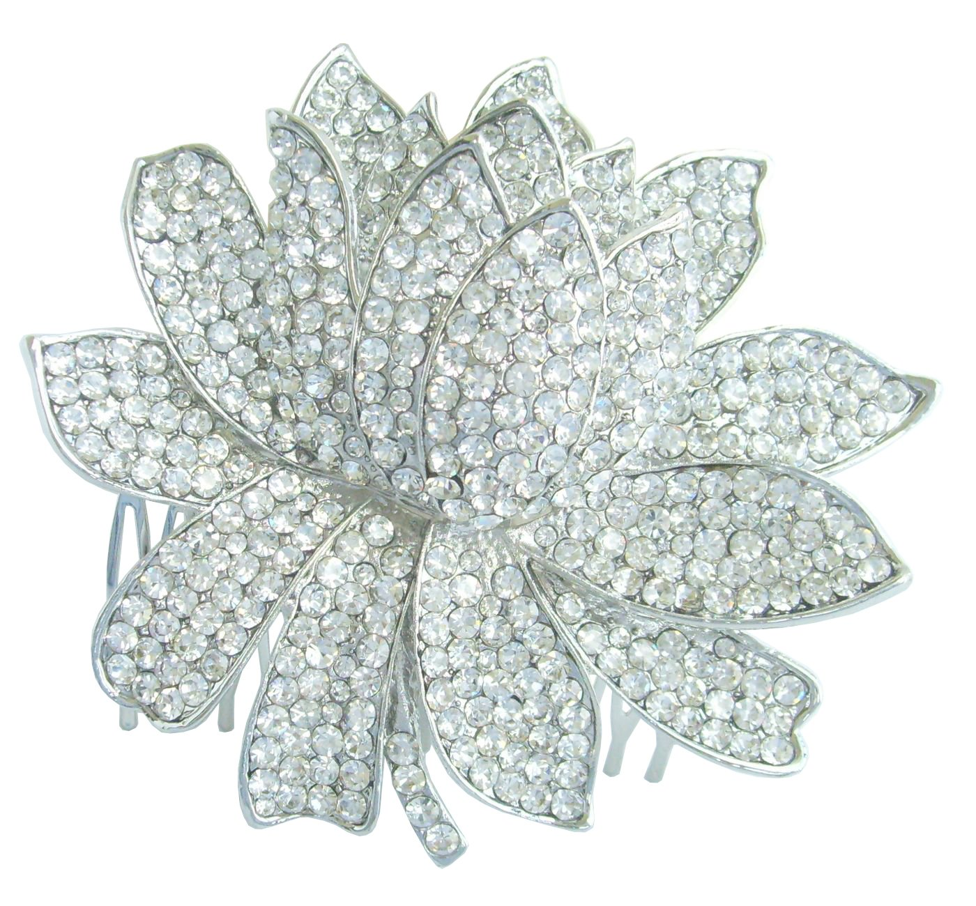 Sindary Wedding Headpiece 3.54'' Water Lily Bridal Hair Comb Silver Tone Clear Rhinestone Crystal HZ4784