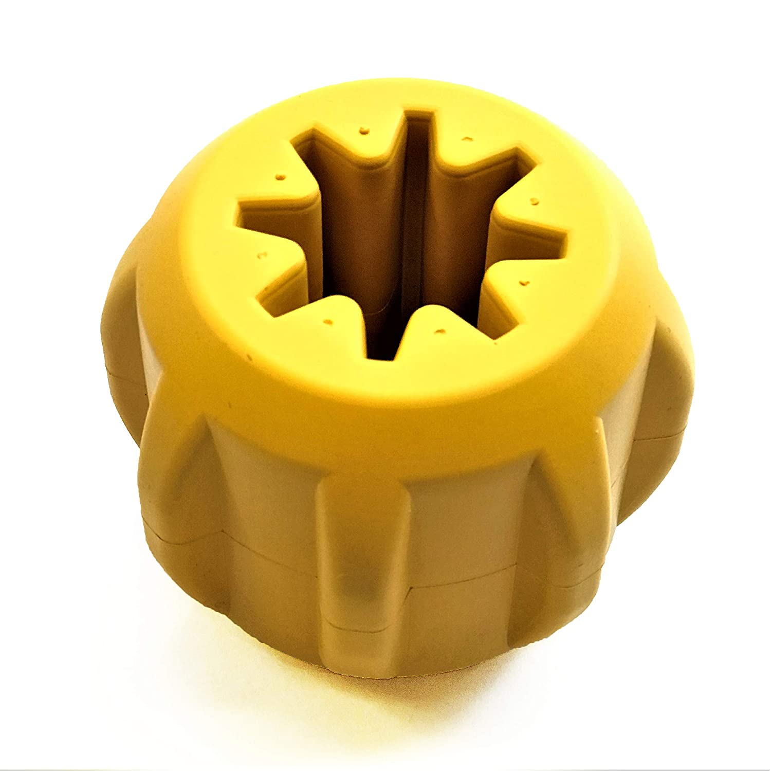 Industrial Dog by SodaPup Natural Rubber Treat Pocket Fetch & Dental Chew Toy Yak Chew Holder Made in USA for Heavy Chewers Yellow Large