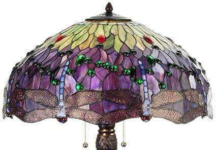 Meyda Tiffany 31112 Tiffany Hanginghead Dragonfly Collection 3 Light Table  Lamp, Mahogany Bronze Finish