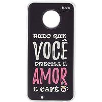 Capa Personalizada para Moto G6 - Amor e Café, Husky, Proteção Completa (Carcaça+Tela), Colorido