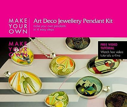 Amazon art deco jewelry glass pendant jewelry craft making art deco jewelry glass pendant jewelry craft making kit make your own pendants for aloadofball Images