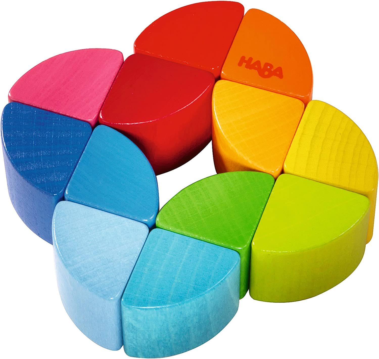 Haba Clutching Toy Rainbow Swirl Plastic Rattling Ball Yellow