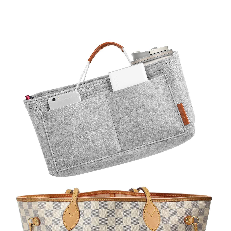 FOREGOER Felt Purse Insert Handbag Organizer Bag in Bag Organizer with Handles - Medium Size by FOREGOER