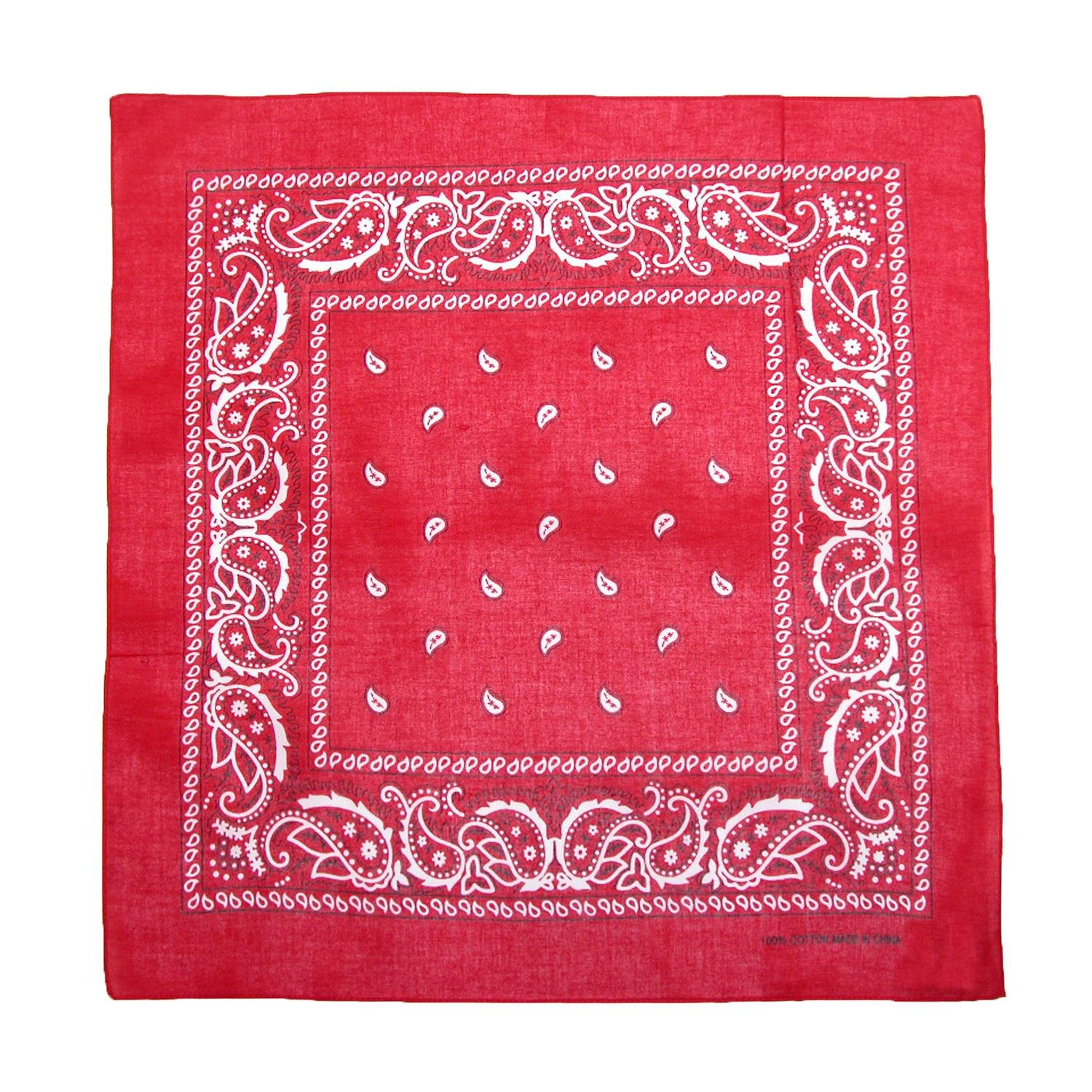 CTM Cotton Paisley All-Purpose Bandanas (Pack of 5 of Same Color), Red JK-331KIT-RED