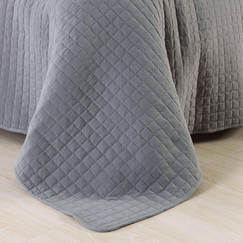 WOLTU BWP5008dgrM01 Couvre-lit rembourr/é et matelass/é Couverture de lit Flannel Double r/éversible 170x210cm,Gris Gris Clair Patchwork