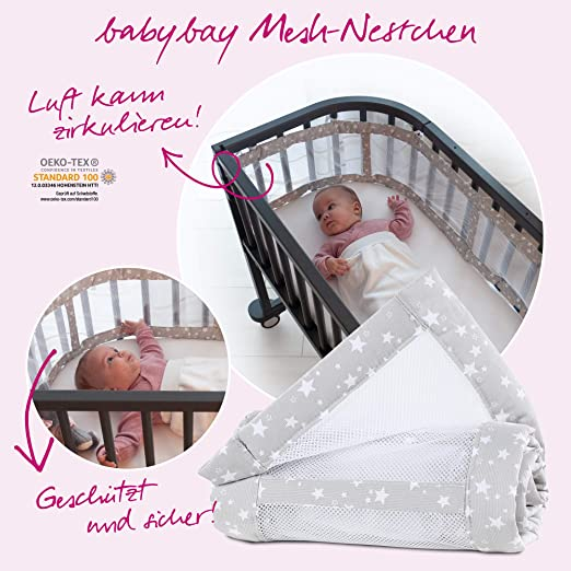 perlgrau Sterne wei/ß babybay Nestchen Mesh-Piqu/é passend f/ür Modell Maxi Boxspring und Comfort