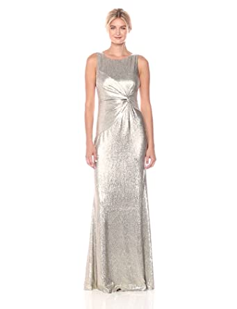 b7d0bcfaaba6be Calvin Klein Women's Sleeveless Long Dress with Ruched Knot, Silver 4
