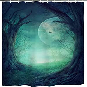 BROSHAN Fantasy Fabric Bathroom Shower Curtain, Fairy Forest Tree Mystical Full Moon Enchanted Nature Scene Bath Bathtub Curtain Shower, Horror Bathroom Decor Set with Hooks,72 inch Long,