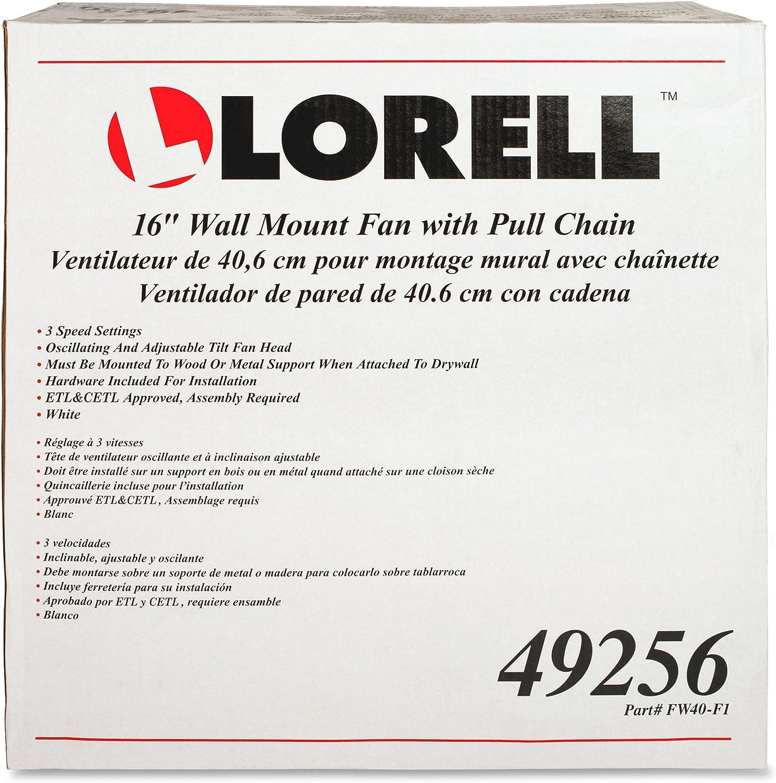 """Lorell 16/"""" Wall Mount Fan Pull Chain 9-1//4/""""x18-1//9/""""x18-1//2/"""" WE 49256"""