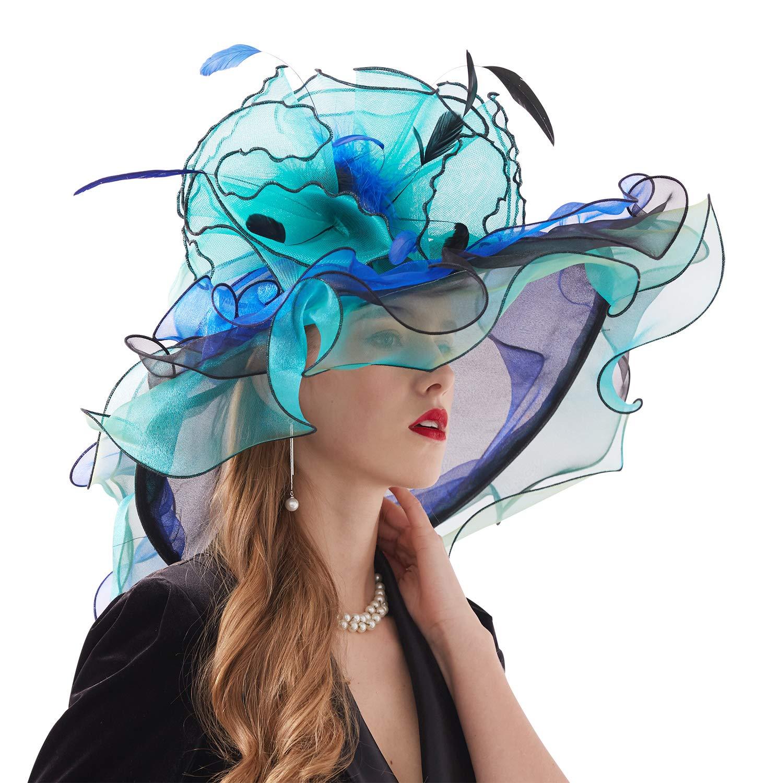 Bellady Women Organza Church Derby Hat Ruffles Wide Brim Summer Bridal Cap,Blue Derby Day Hats,One Size by Bellady (Image #4)