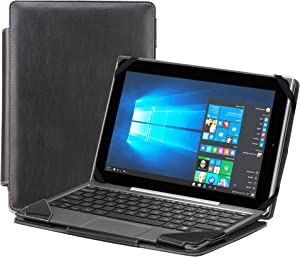 """Navitech Black Faux Leather Detachable Folio Case Cover Sleeve Compatible with The Lenovo Yoga 710 11"""""""