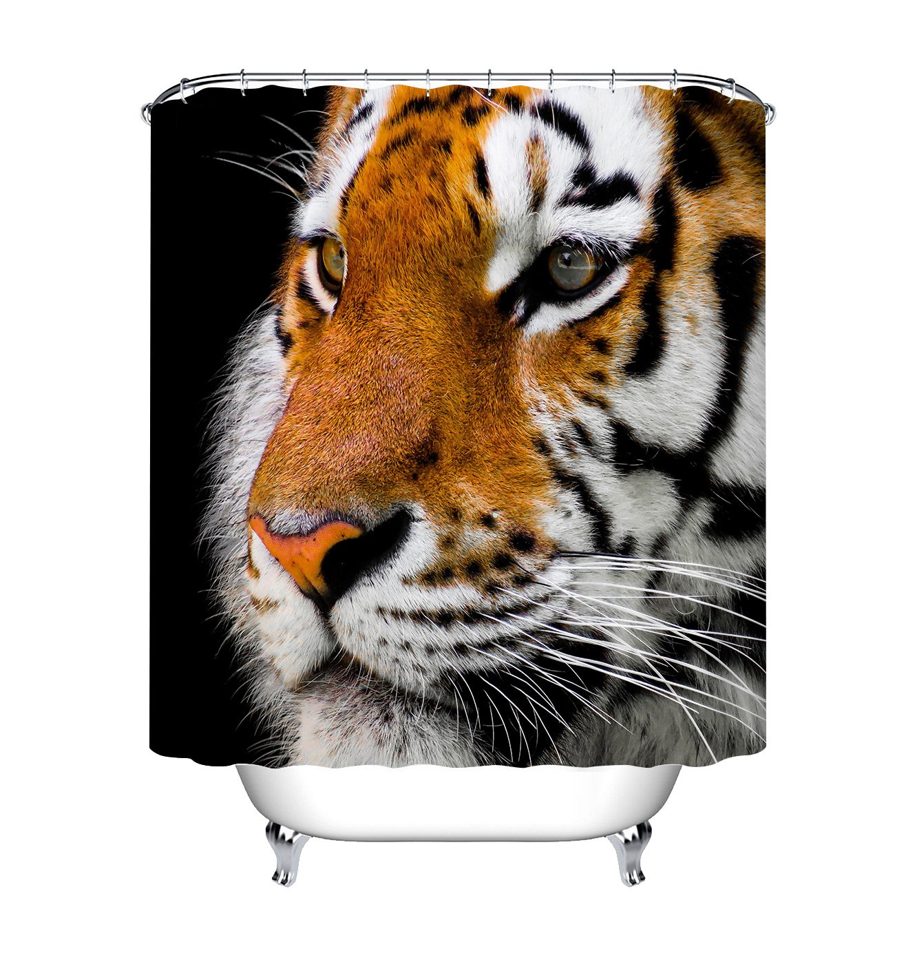 LB Asian Tiger Print Shower Curtains Set For Bathroom Forest Jungle Wild Animal Decor Curtain 70x70 Inch Fabric Waterproof Mildew Free