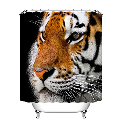 LB Asian Tiger Print Shower Curtains Set For Bathroom Forest Jungle Wild Animal Decor Curtain